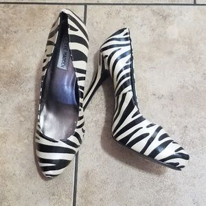 Ladies Black and Cream Zebra Heels